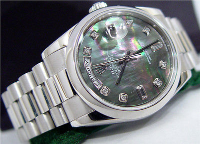 Swiss Watches Rolex Men S Diamond Mother Of Pearl