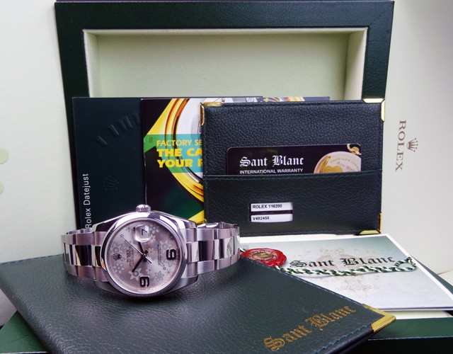 ROLEX Men's DateJust Stainless Steel Silver Floral 116200 SANT BLANC