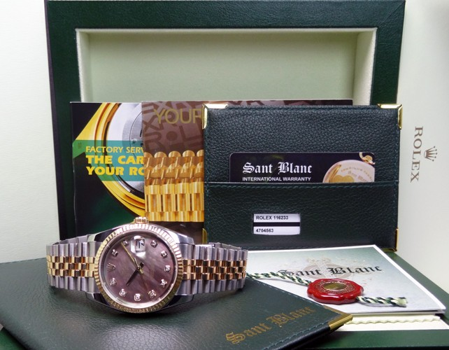 ROLEX - 36mm 18kt GOLD & SS DateJust Tahitian Mother of Pearl Diamond - 116233 SANT BLANC