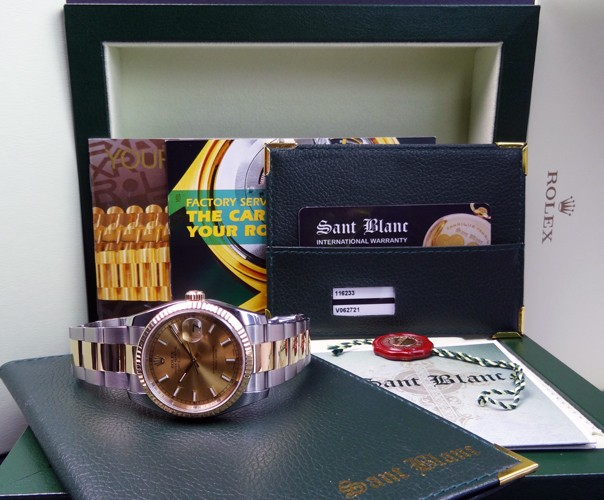 ROLEX - 36mm 18kt GOLD & SS DateJust Champagne Index - 116233 SANT BLANC