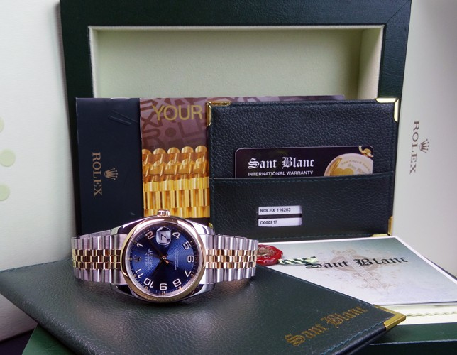 ROLEX - Mens 36mm 18kt GOLD & SS DateJust Blue Concentric Arabic  - 116233 SANT BLANC