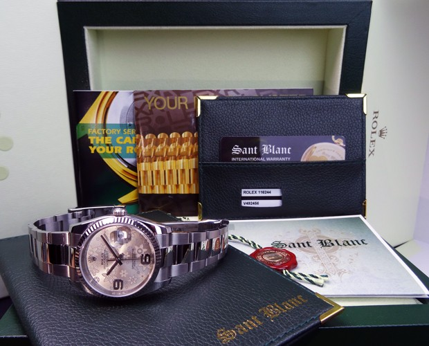 ROLEX Men's DateJust White Gold & Stainless Steel Silver Floral 116234 SANT BLANC