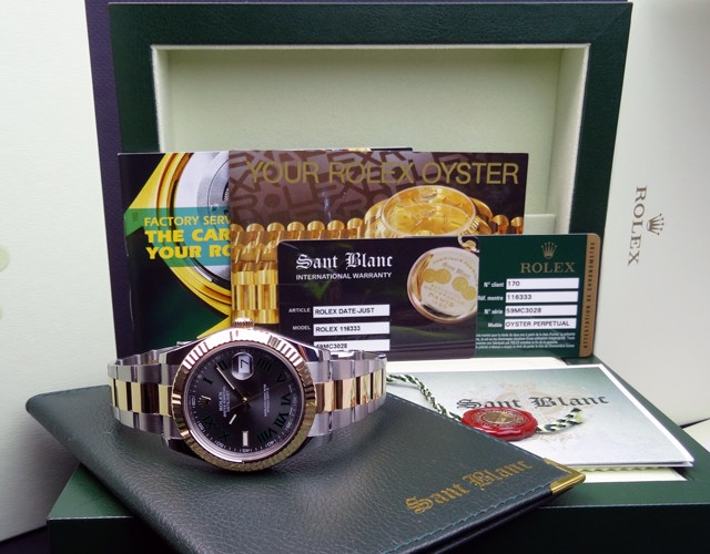 ROLEX 18kt Gold & Stainless Steel 41mm DATEJUST II Slate Roman 116333 SANT BLANC