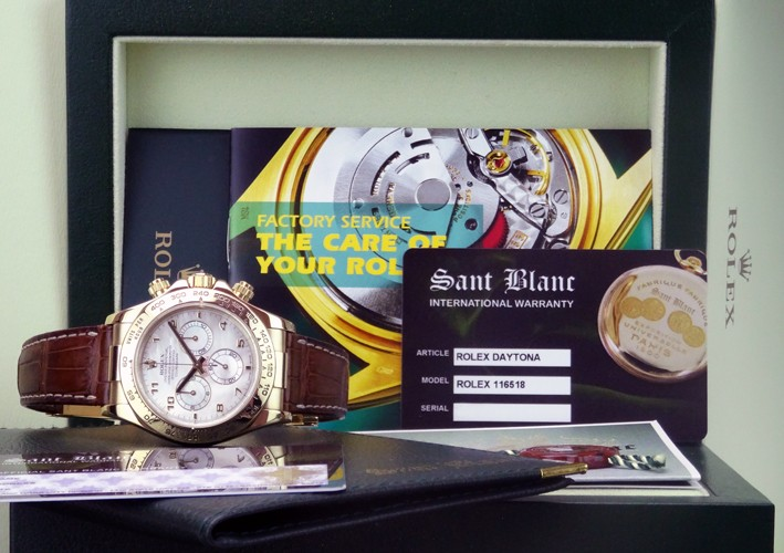 ROLEX - 18kt Gold DAYTONA Mother of Pearl Arabic Dial 116518 SANT BLANC