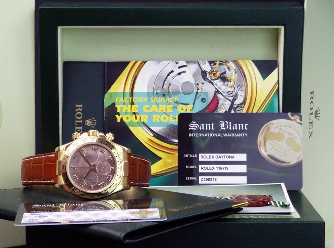ROLEX - 18kt Gold DAYTONA Tahitian Mother of Pearl Roman Dial 116518 SANT BLANC
