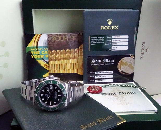 Rolex 2014 Stainless 40mm SUBMARINER Date Green CERAMIC 116610  SANT BLANC