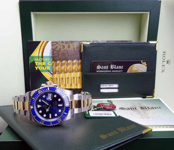 ROLEX - Never Worn Gold & SS SUBMARINER Ceramic Blue Index Dial - 116613 SANT BLANC