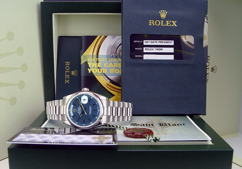 ROLEX - 36mm Platinum Day-Date President Blue Stick Dial - 118206