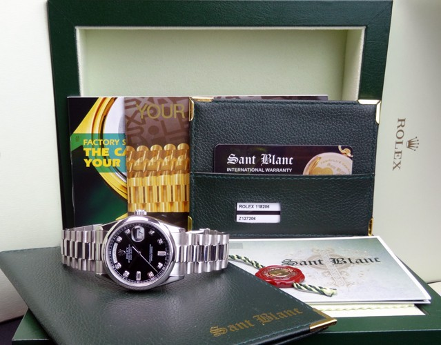 ROLEX - 36mm Platinum Day-Date President Black Diamond Dial - 118206