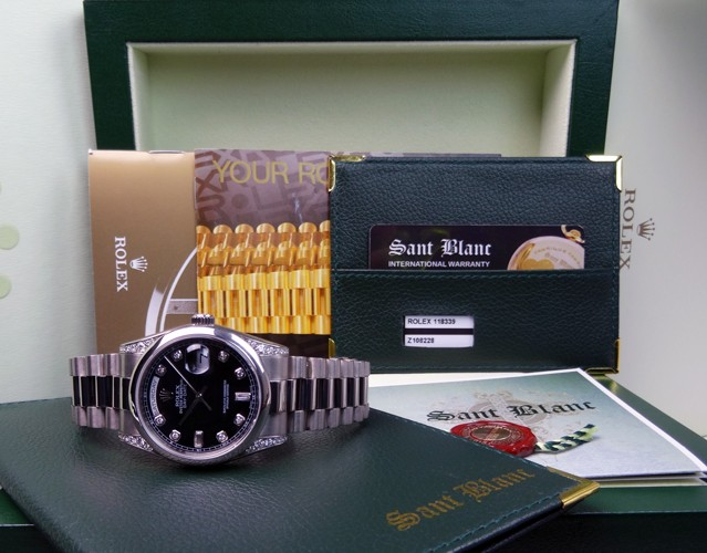 ROLEX - 18kt White Gold Day-Date Black Diamond - Domed Bezel - 118339 SANT BLANC
