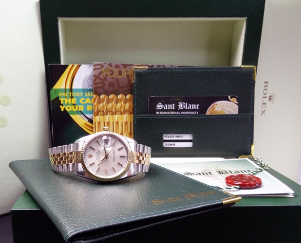 ROLEX - 18kt GOLD SS 36mm Mens DateJust Silver Stick - 16013 SANT BLANC