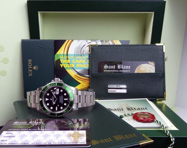 ROLEX - Stainless Steel Submariner Black Index Dial Green Bezel - 16610 SANT BLANC