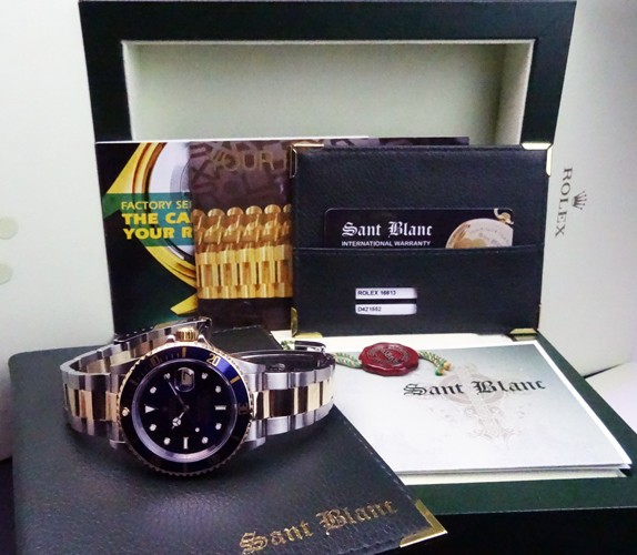 ROLEX - 18kt Gold & SS SUBMARINER Blue Index Dial - 16613 SANT BLANC