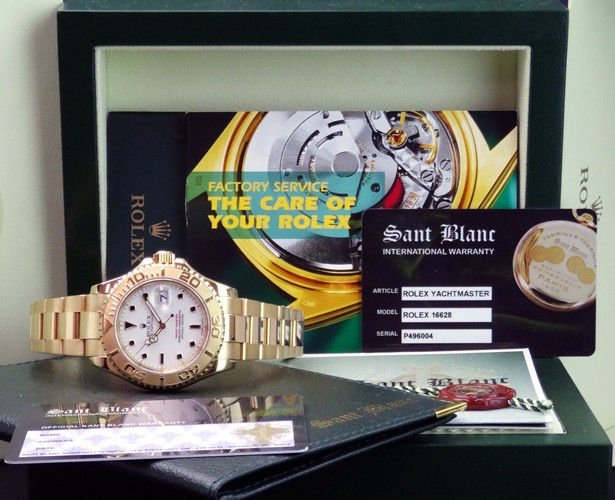 ROLEX - YachtMaster Mens 40mm 18kt Yellow Gold - White Index Dial - 16628 SANT BLANC