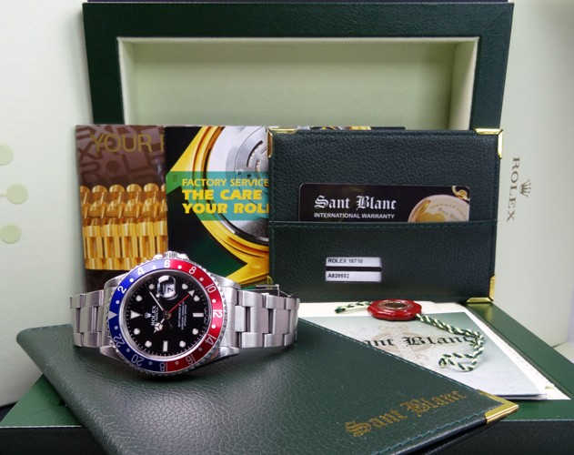 ROLEX - Stainless Steel GMT Master II - Black/Red Bezel - 16710 SANT BLANC