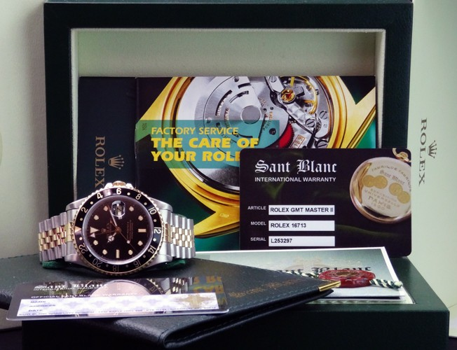 ROLEX Mens Stainless Steel & 18kt Gold GMT-Master II Black 16713 SANT BLANC