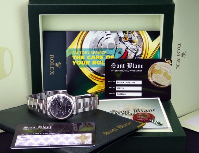 ROLEX - Mid-Size Datejust 31mm - Silver Floral Arabic Dial - 178274 SANT BLANC