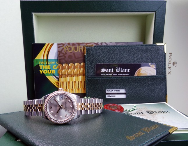 ROLEX - 2014 Never Worn Midsize 18kt Gold & Stainless Steel Diamond Silver , Mid-Size 178383 SANT BLANC