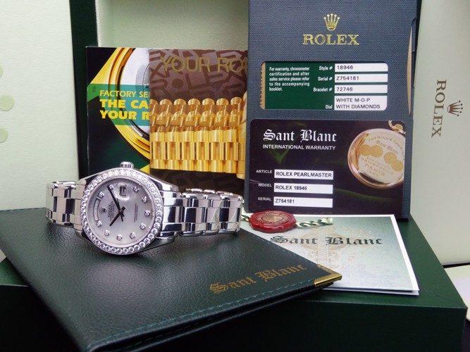 ROLEX - Men's Platinum 39mm MOP Diamond Dial - 18946 SANT BLANC