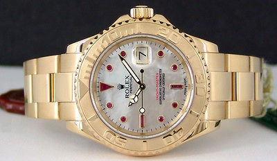 ROLEX - Mens 40mm 18kt Yellow Gold YachtMaster Mother of Pearl Ruby 16628