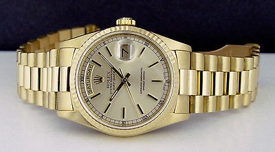 ROLEX Mens 18kt  Yellow GOLD Day-Date PRESIDENT Silver Stick 18038