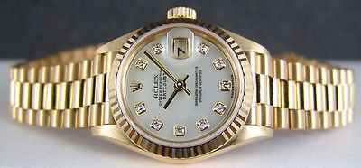 ROLEX - Ladies 26mm Gold Datejust PRESIDENT MOP Diamond Dial - 69178 SANT BLANC