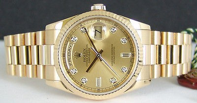ROLEX - Men's 18kt Gold Day-Date President CHAMPAGNE Diamond 118238 SANT BLANC