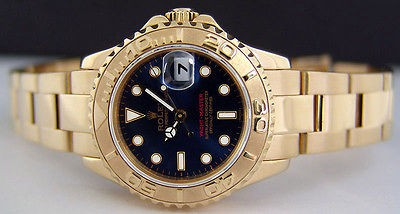 ROLEX - 18kt Gold Mid-Size 35mm Yacht-Master Blue Index Dial - 168628