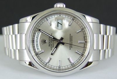 ROLEX - 36mm PLATINUM President Day-Date Silver Index Dial - 118206 Sant Blanc