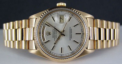 ROLEX 36mm Men's Yellow Gold Day-Date PRESIDENT - Silver Stick 18238 SANT BLANC