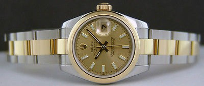 ROLEX - Ladies 26mm 18kt Gold & SS DateJust - Champagne Index 179163 SANT BLANC