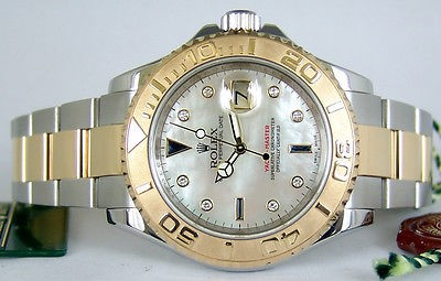 ROLEX - 18kt Gold & SS YachtMaster Diamond/Sapphire Pearl Dial 16623 SANT BLANC