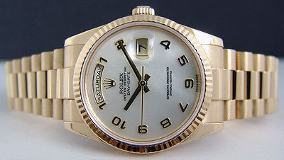 ROLEX - 36mm Men's Gold Day-Date President - MOP Arabic Dial - 118238 SANT BLANC
