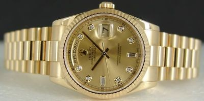 Men's ROLEX 18kt Gold DIAMOND President 118238 SANT BLANC