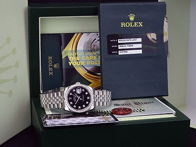 ROLEX Men's DateJust 18kt White Gold & SS Black Diamond Dial 116244 - SANT BLANC