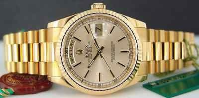 ROLEX - 36mm Mens 18kt Gold Day-Date President Silver Stick 118238 SANT BLANC