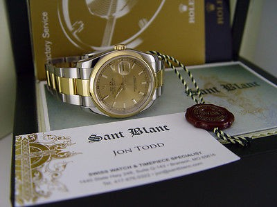 ROLEX - Mens DateJust 36mm 18kt Gold Stainless Champagne Index 116233 SANT BLANC