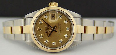 ROLEX Ladies 18kt GOLD & SS DateJust DIAMOND Dial 79163 - SANT BLANC