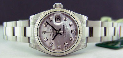 ROLEX UNWORN Ladies White Gold & SS 26mm Datejust MOP Diamond 179174 SANT BLANC