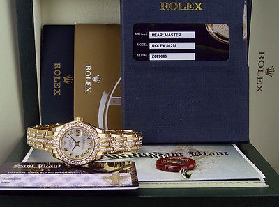 ROLEX 18kt Gold Triple Diamond Bracelet Pearlmaster MASTERPIECE 80298