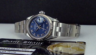 ROLEX 18kt White Gold & SS Ladies 26mm DateJust Blue Roman 79174 SANT BLANC