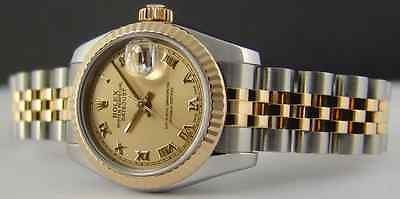 ROLEX 26mm 18kt Gold & SS Ladies DateJust Champagne Roman Dial 179173 SANT BLANC