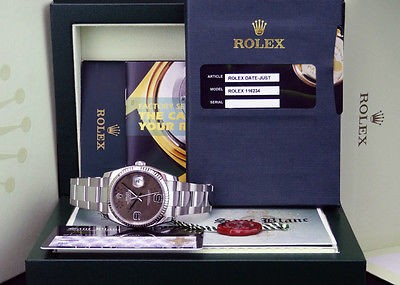 ROLEX  Mens DateJust Stainless Steel Chocolate Floral Dial 116234 SANT BLANC