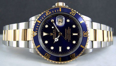 ROLEX -40mm Mens 18kt Gold & SS Submariner Blue Index Dial - 16613 SANT BLANC