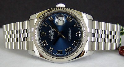 ROLEX - Mens 36mm 18kt White Gold & SS DateJust Blue Roman 116234 SANT BLANC