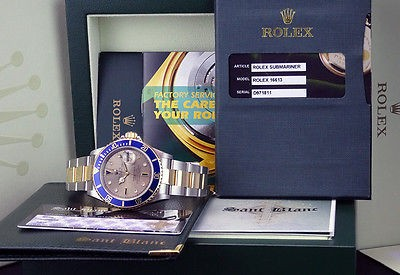 ROLEX - 40mm 18kt Gold & Stainless SUBMARINER Silver Serti Dial 16613 SANT BLANC