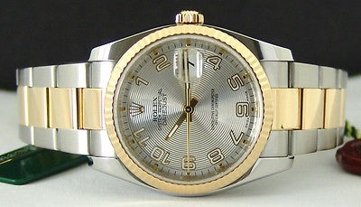 ROLEX - Mens 36mm 18kt Gold & SS DateJust SILVER Concentric 116233 SANT BLANC