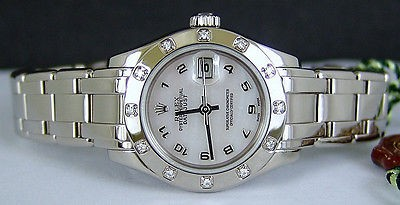 ROLEX - Ladies 18kt White Gold MASTERPIECE Mother of Pearl Arabic Dial - 80319