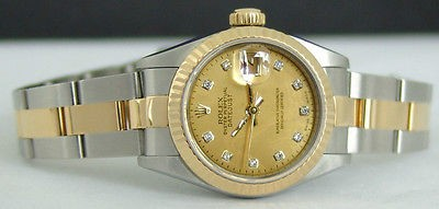 ROLEX Ladies 18kt Gold Stainless Datejust Gold Diamond Dial 69173 SANT BLANC
