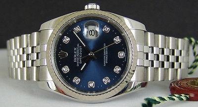 ROLEX - Mens 36mm 18kt WG & SS DateJust Blue DIAMOND Dial - 116234 SANT BLANC